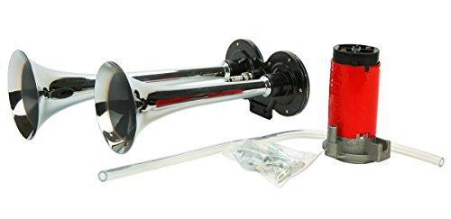 FreeTec Luchthoorn persluchthoorn met compressor 150 dB 12 V voor alle voertuigen vrachtwagens treinen boten auto's SUV Dual Trumpet
