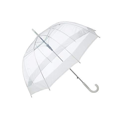 Cepewa Regenschirm Glockenschirm transparent mit weißem Rand Durchsichtig Automatik Ø 84 cm Stockschirm Schirm (1 x Regenschirm weiß)