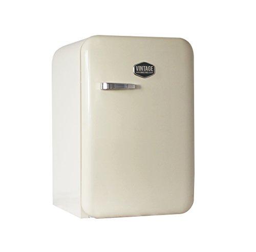 Vintage Industries ~ Kompakt Retro-Kühlschrank Kingston 2018 in creme beige | Mini-Bar 50er Jahre Look | Größe: 84cm & 115l Volumen | Tisch-Kühlschrank mit Temperatureinstellung, Wein- & Gemüsefach