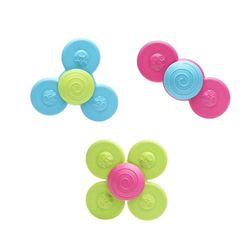 Mumaya 3PCS Spinning Toddler Toy, Spinning Baby Toys, Lustiges Windmühlenspielzeug, Lustiges Kinderspielzeug, Saugspielzeug, Sicher Interessantes Tischsauger-Gameplay Spielzeug für Anfänger