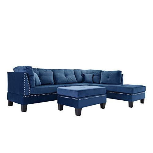 Casa Andrea Milano llc 3-Piece Velvet with Nailhead Trim Sectional Sofa and Ottoman Set, Navy Blue