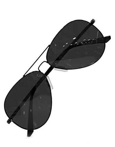 LUENX Herren Sonnenbrille Polarisiertes Schwarz Linse- UV 400 Schutz Metall Rahmen 60mm