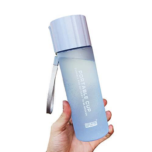 XGQ 550ml Prueba de Fugas Breve diseño Botella de Agua plástica con Correa de asa for Uso común (Rosa) (Color : Blue)