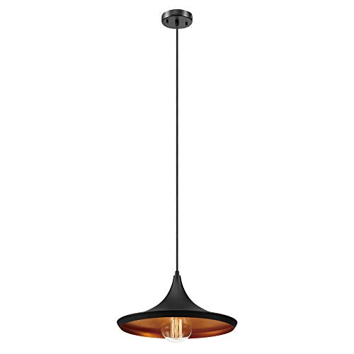 Globe Electric 1-Light Flat Modern Industrial Pendant, Oil Rubbed Bronze, Gold Inner Finish, 63872