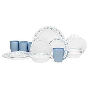 Corelle 20 Piece Livingware Dinnerware Set with Storage,Country Cottage, Service for 4
