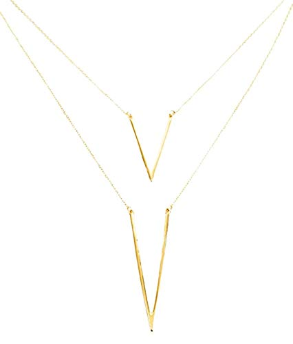 SophysWorld Gold Plated Layered Triangle Necklace with Crystals