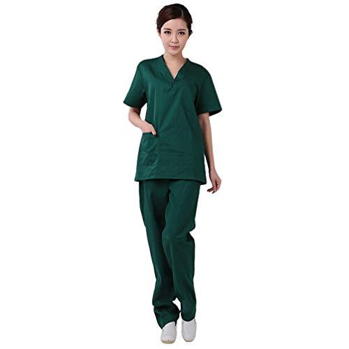 KESYOO Katoen Scrubs Wasbaar Medisch Uniform Ziekenhuis Werkkleding Korte Mouw Ziekenhuis Werkkleding Medische Scrubs Top en Broek (Groen S)