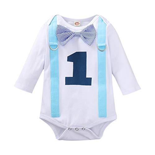 WAOTIER Mono de manga larga para recién nacido, niña, pajarita, falso, dos piezas, mezcla de algodón, ropa para el hogar, pijama Blanco 60 cm