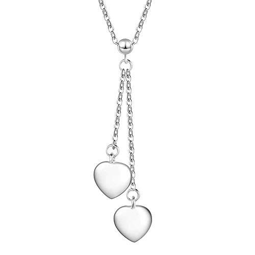 SONGAI Las Mujeres Collar de Plata Colgante Plateado Modelo Doble en Forma de corazón del diseño del Estilo Encantador de Plata 45CM