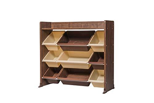 Iris Ohyama Kids Toy Rack TKTHR-39 Estantería para Juguetes de Varios Niveles para niños/Organizador Infantil,1 Estante/9 Cajas extraíbles,Engineered Wood,Marrón (Roble marrón),L86.3xP34.8 x H