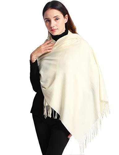 Ease Leap Cachemire Hiver Chaud Écharpe Pour Femmes Pashmina Châle Wrap Hommes Grandes Écharpes Douces pour Autum et Hiver 200cm x 70cm,78.7 x 27.6 Pouce,Blanc