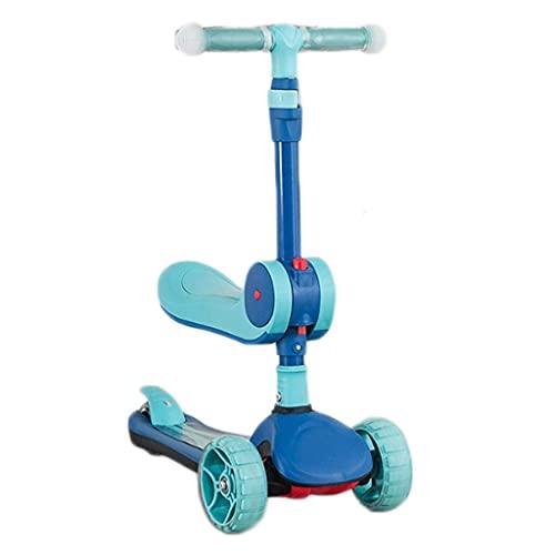 QIXIAOCYB Patada multifunción Scooter para niños - Altura ajustable con cubierta extra de ancho PU Ruedas intermitentes Great Kids Scooter Scooters Scooters Azul (Color : Blue)
