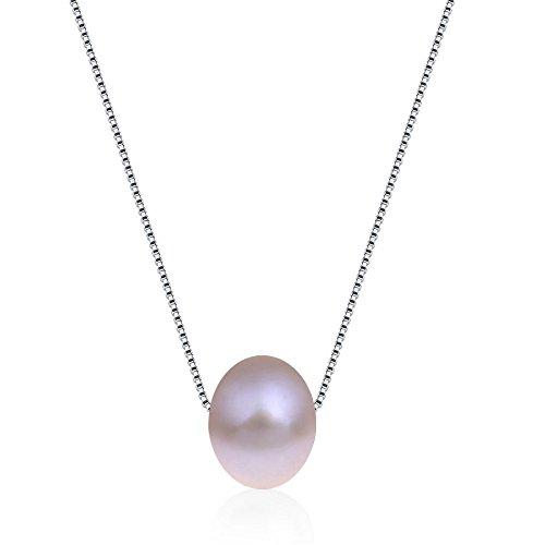 Kim Johanson Damen Perlenkette 'Stella' aus 925 Sterling Silber mit einer echten lila Süßwasser Perle inkl. Schmuckbeutel