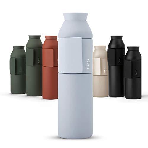 Closca Botella de Agua de Acero Inoxidable Bottle Wave. Cantimplora Termo Enganchable para niños y Adultos. Sin BPA. (Antartica, 600ml)