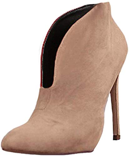 Minetom Damen Stiefeletten Mode Frühling Herbst Stiletto Shoes Booties Stiefel Casual Schuhe Sexy Party Pumps High Heels Khaki EU 39