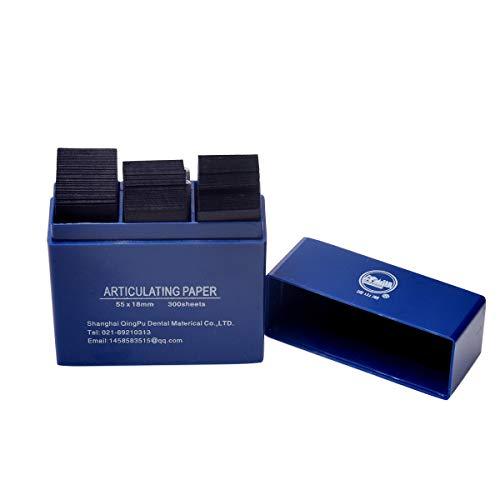 Dental Articulating Paper 300 PCS, Plastic Dispenser Blue 100 Micron Bite Articulating Paper & Film Doubled Side - 55 x 18 x 0.1mm - 12 Months Warranty