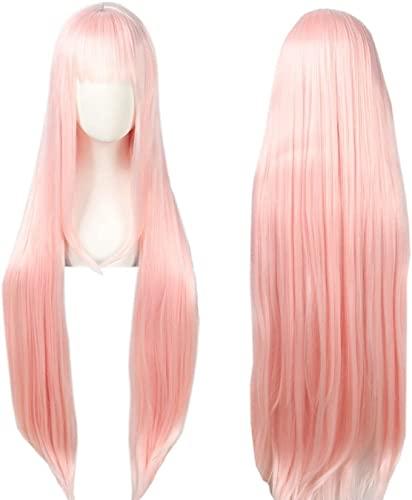 Anime Cosplay Pink Long Princess Peluca Wig Halloween Peluca for mujeres 100 cm chenghuax