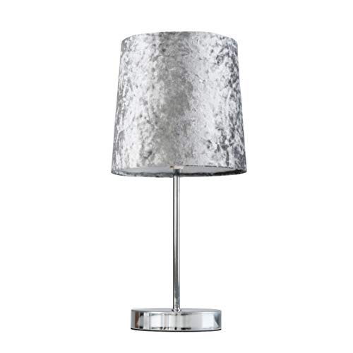 Modern Polished Chrome Table Lamp with a Silver Grey Velvet Shade - Complete with a 4w LED Bulb [3000K Warm White]