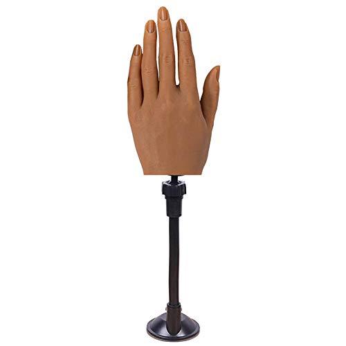 Datoong Einstellbare lebensgroße Silikonhand, Fingergelenk gebogene Nägel Maniküre Training Fake Hand Fingermodell für Nail Art Üben Design (Linke Hand,3#)