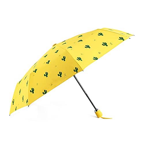 Parasol impermeable y soleado con diseño de cactus, con diseño de corazón y plano para exteriores, para uso diario (color: amarillo automático)