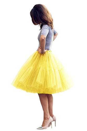 Tüllrock Damen Tutu Skirt 5 Lage Petticoat Ballettrock Unterrock Pettiskirt Gelb