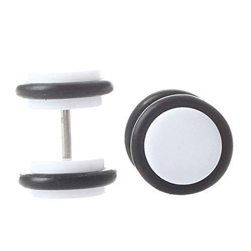 Gesh 2 pendientes de 18 g con dilatadores falsos de acrílico de 00 g, con juntas tóricas, color blanco