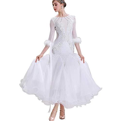 Fhxr Tanzkleid Standard Tanzflamenco Kleid National Standard Gesellschaftstanz-Kleider for Frauen-Wettbewerb Tanzkleidung Waltz Anzeigen Big Swing Rock Feder-Rock (Color : White, Size : M)
