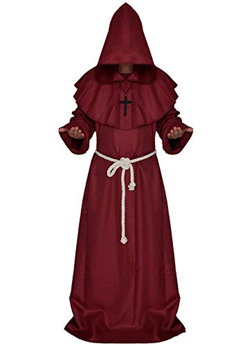 ALIZIWAY Friar Monk Priest Hooded Robe Cloak Halloween Cosplay Costume Red