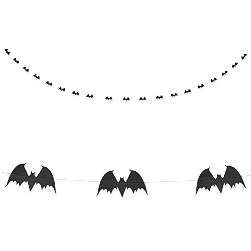 Oblique Unique® Fledermaus Girlande mit 20 Fledermäusen 3m Schwarz Deko für Halloween Party Fasching Karneval Dekoration zum Gruseln und Erschrecken
