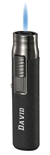 Personalized Visol Sherman Single Flame Torch Lighter (Black Crackle)