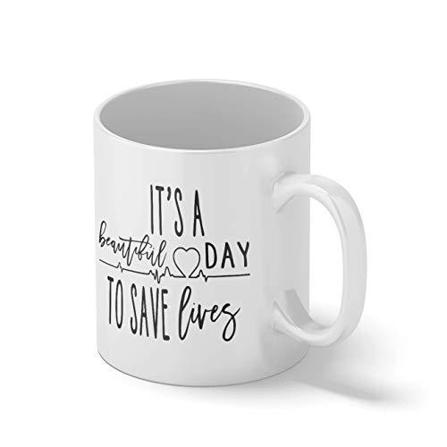 Grey's Anatomy It's Beautiful Day To Save Lives Weißer Becher Mug | Lustige Neuheit Tassen für Kaffee Tee 312ml