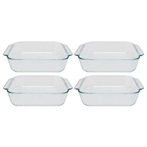 Pyrex 222 Square Clear Glass Baking Dish - 4 Pack