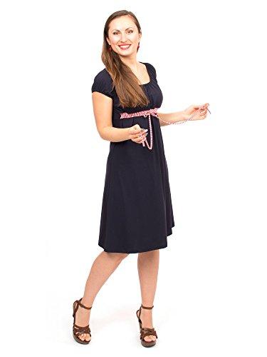 Viva la Mama Stillkleid I 3in1 Umstandsmode Schwangerschaft Damen Umstandskleid Schwangerschaftskleid I Schwangerschaftsmode Kleid Stillzeit Schwangerschafts Sommer Kleid - ELLI - Marineblau - L