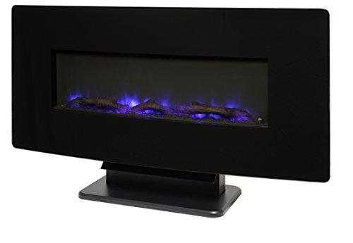 "Muskoka Curved Front 36"" Wall Mount Fireplace - Black Glass"