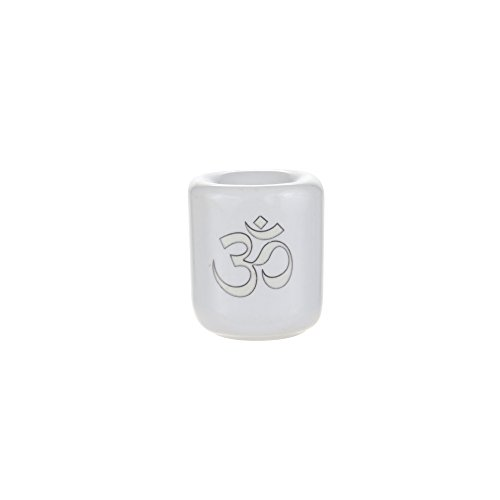 Mega Candles - Ceramic Silver Om Chime Ritual Spell Candle Holder - White