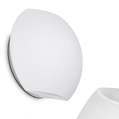 Wandlampe Concha aus Metall/Glas in Weiß, runde Wandleuchte mit Up & Down-Effekt, 1 x E27-Fassung max. 60 Watt, Innenwandleuchte mit Lichteffekt, geeignet für LED Leuchtmittel