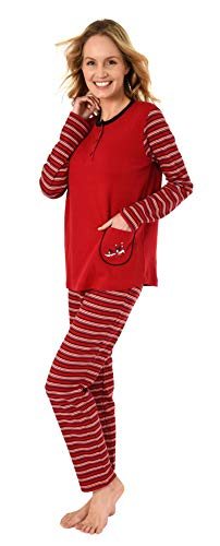 Damen Pyjama Schlafanzug in Kuschel Interlock - auch in Übergrössen 281 201 96 120, Farbe:rot, Größe2:48/50