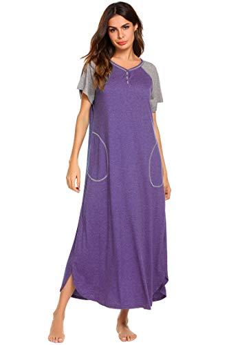 Ekouaer Damen Nachthemd V-Ausschnitt Loungewear Langarm Nachtwäsche volle Länge Nachthemd für Frauen S-XXL, violett, X-Groß