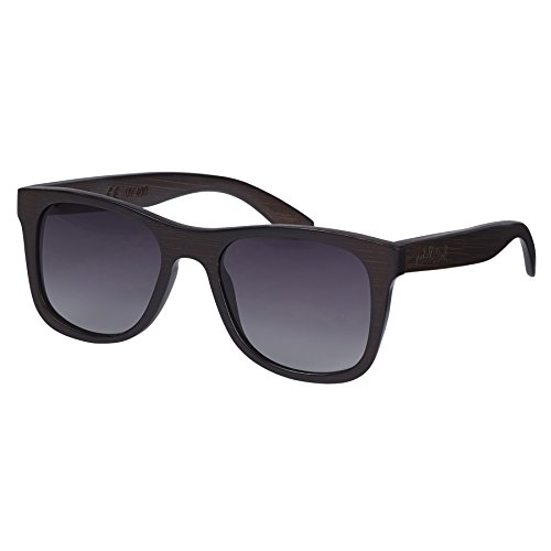 Nebelkind Sonnenbrille aus Holz mit UV-Schutz und Brillenetui XS für kleine Köpfe aus Bambus Unisex Entspiegelt Dunkelbraun Graue Gläser