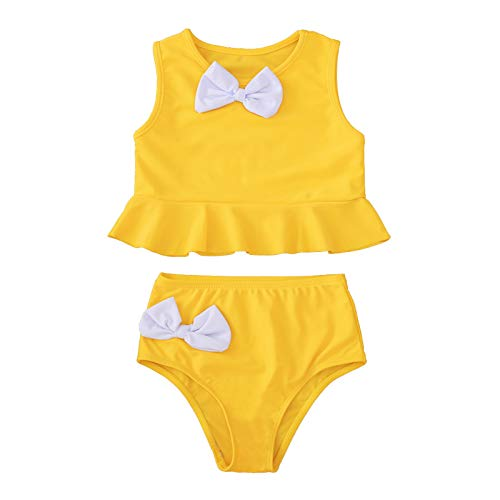 Traje de baño para bebé y niña, decoración de ondas con lazo, secado rápido, talla Reino Unido, mejor regalo de cumpleaños
