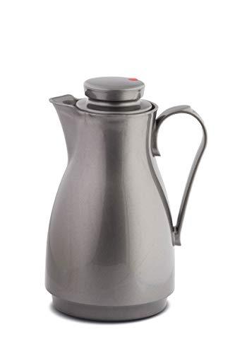 ROTPUNKT Isolierkanne 828 Karla 1,8 l | Zweifunktions-Drehverschluss | BPA Frei- gesundes Trinken | Made in Germany | Warm + Kalthaltung | Glaseinsatz | silverlight