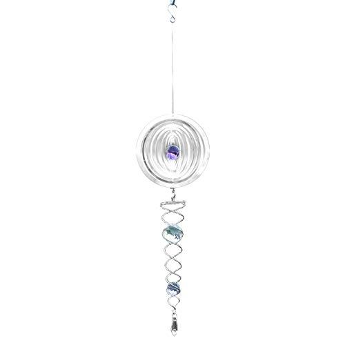 KULOKME Wind Spinner 50 cm-3D Edelstahl Windspiele-Laserschnitt Metal Art Geometrisches Muster-Windspiel hängend,Kinetic Spinner,Yard Art Dekorationen- Innen/Außendekor (50x15cm, Runden)