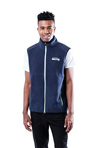 Ultra Game NFL Seattle Seahawks Mens Polar Fleece Vest with Reflective Zipper Tape, Team Color, Medium