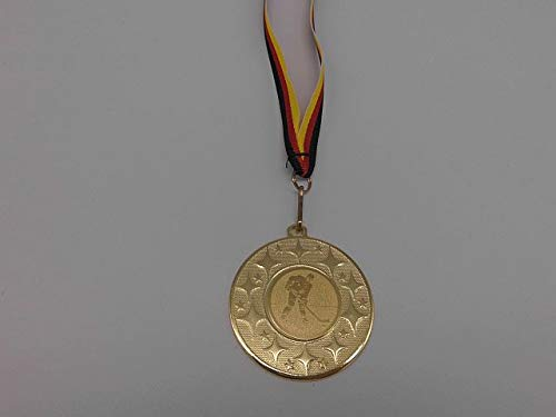 Fanshop Lünen 100 Stück Medaillen - aus Stahl 50mm - mit einem Emblem, Eishockey - Herren - Puck - inkl. Medaillen-Band - Farbe: Gold - mit Alu Emblem 25mm - (e4018) -