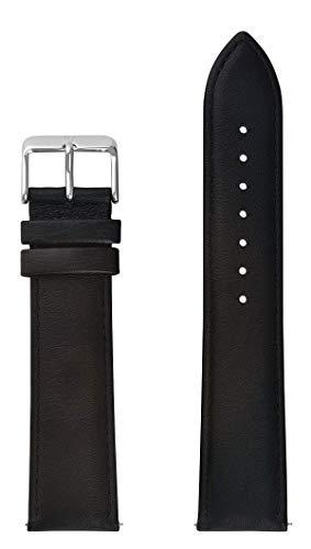 DETOMASO schwarzes Uhrenarmband aus Leder mit silberner Dornschließe, 22mm