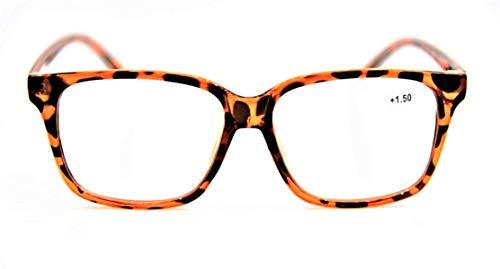 Moda Empollón/Nerd Grande Unisex con Estilo Retro Robusto Gafas de Lectura +1.0 +1.5 +2.0 +2.5 +3.0 +3.5 IN 8 Colores Modelo TN44 - Carey