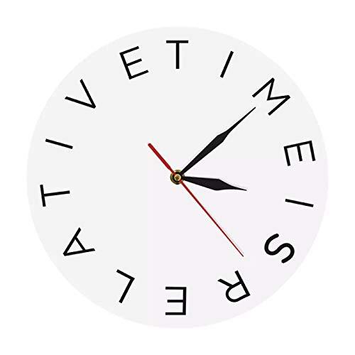 yage El Tiempo es relativo Reloj de Pared de acrílico Reloj Decorativo Redondo Moderno Reloj de Pared Decoración Simple para el hogar Arte de Pared contemporáneo