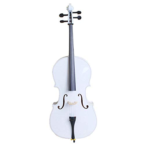 LYKOS 4/4 Acoustic Cello + Case + Bow + Rosin Wood Color Beautiful Varnish Finishing (White)