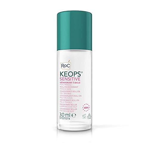 RoC - KEOPS Desodorante Roll-On Piel Sensible - Antitranspirante - Eficacia 24 Horas - Sin Alcohol y Sin Fragancia - 30 ml