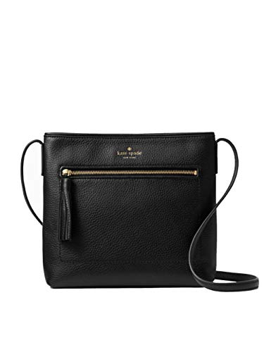 Kate Spade New York leather shoulder bag with gold toned hardware Gold toned embossed logo in front; Top zip closure; Front zip pocket with tasseled zipper pull Adjustable shoulder strap with maximum drop of approx. 22.5 inches Interior features cust...